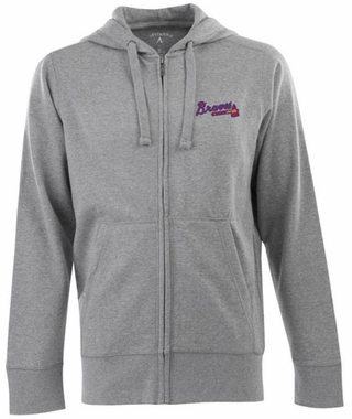 Atlanta Braves Mens Signature Full Zip Hooded Sweatshirt (Color: Gray)
