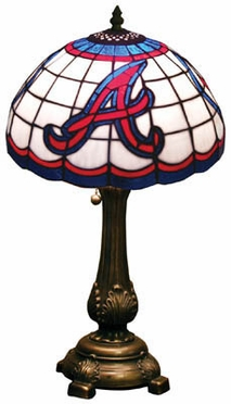 Atlanta Braves Stained Glass Table Lamp