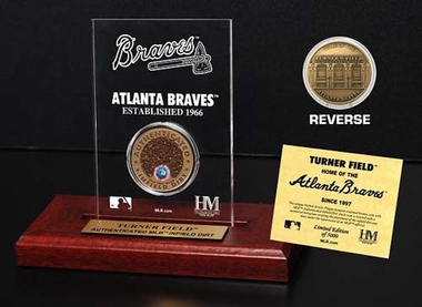 Atlanta Braves Turner Field Infield Dirt Coin Etched Acrylic