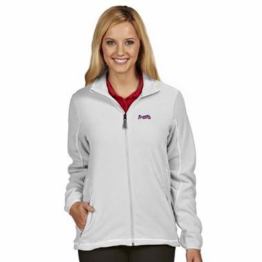 Atlanta Braves Womens Ice Polar Fleece Jacket (Color: White)
