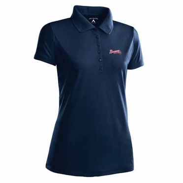 Atlanta Braves Womens Pique Xtra Lite Polo Shirt (Alternate Color: Navy)