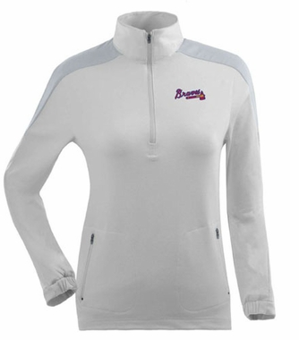 Atlanta Braves Womens Succeed 1/4 Zip Performance Pullover (Color: White)