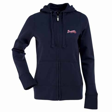 Atlanta Braves Womens Zip Front Hoody Sweatshirt (Alternate Color: Navy)