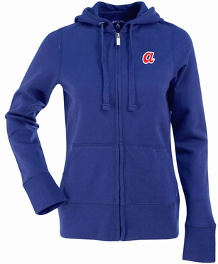 Atlanta Braves Womens Zip Front Hoody Sweatshirt (Cooperstown) (Team Color: Royal)