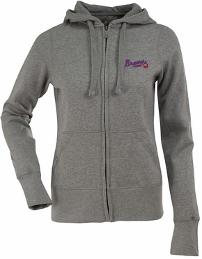 Atlanta Braves Womens Zip Front Hoody Sweatshirt (Color: Gray)