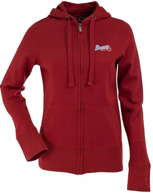 Atlanta Braves Womens Zip Front Hoody Sweatshirt (Color: Red)