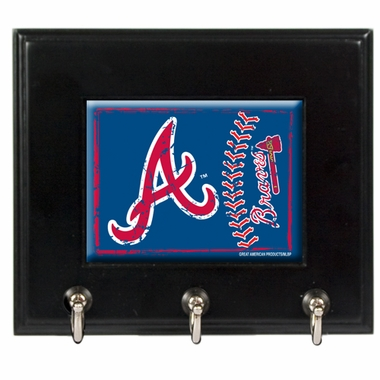 Atlanta Braves Wooden Keyhook Rack