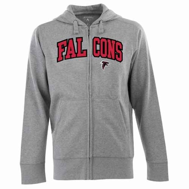 Atlanta Falcons Mens Applique Full Zip Hooded Sweatshirt (Color: Gray)