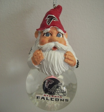 Atlanta Falcons Light Up Gnome Snow Globe Ornament
