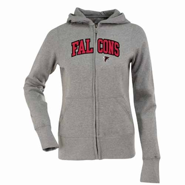 Atlanta Falcons Applique Womens Zip Front Hoody Sweatshirt (Color: Gray)