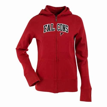 Atlanta Falcons Applique Womens Zip Front Hoody Sweatshirt (Team Color: Red)