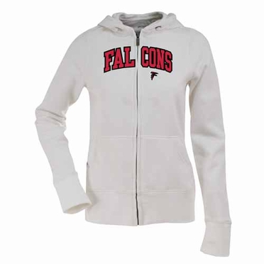 Atlanta Falcons Applique Womens Zip Front Hoody Sweatshirt (Color: White)