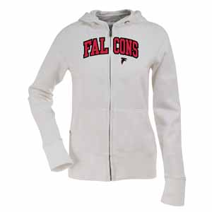 Atlanta Falcons Applique Womens Zip Front Hoody Sweatshirt (Color: White) - Large
