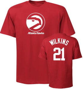 Atlanta Hawks Dominique Wilkins Player Name and Number T-Shirt - X-Large