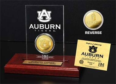 Auburn Tigers Auburn University 24KT Gold Coin Etched Acrylic