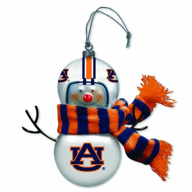 Auburn Blown Glass Snowman Ornament (Set of 2)