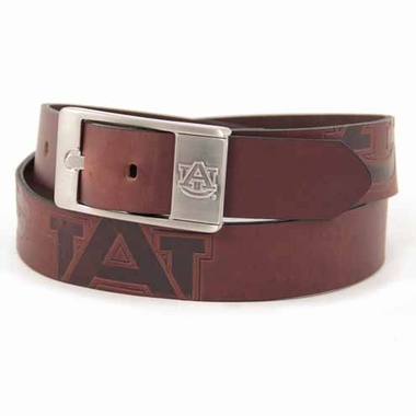 Auburn Brown Leather Brandished Belt