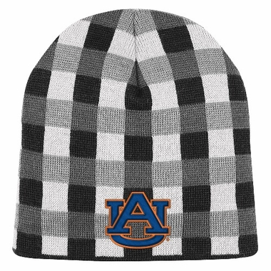 Auburn Soul Plaid Cuffless Knit Beanie Hat