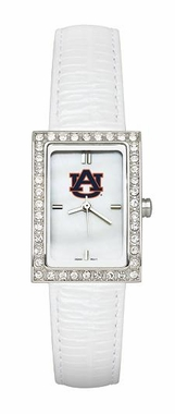 Auburn Women's White Leather Strap Allure Watch
