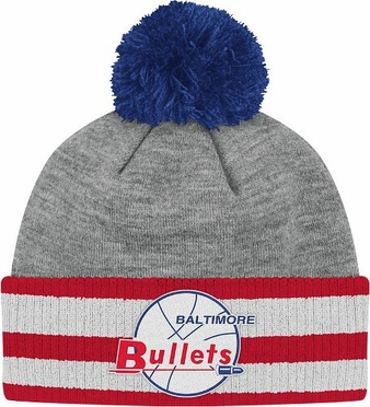 Baltimore Bullets Jersey Stripe Vintage Cuffed Pom Hat (Grey)