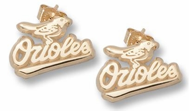 Baltimore Orioles 10K Gold Post or Dangle Earrings
