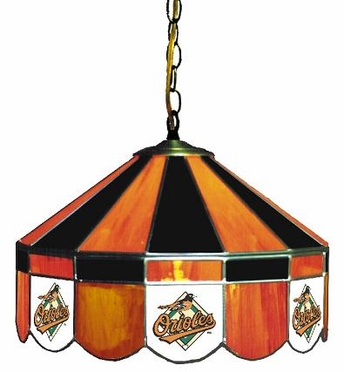 Baltimore Orioles 16 Inch Diameter Stained Glass Pub Light