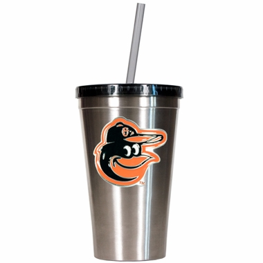 Baltimore Orioles 16oz Stainless Steel Insulated Tumbler with Straw