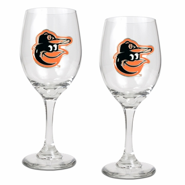 Baltimore Orioles 2 Piece Wine Glass Set