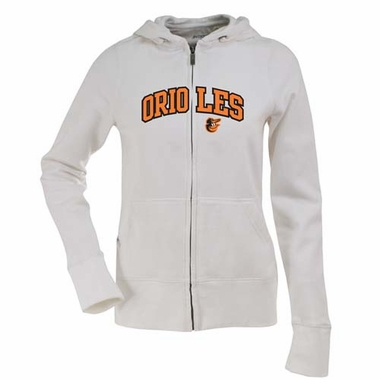 Baltimore Orioles Applique Womens Zip Front Hoody Sweatshirt (Color: White)