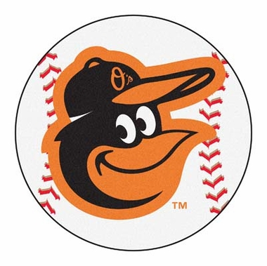 Baltimore Orioles 27 Inch Baseball Shaped Rug