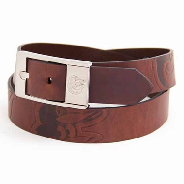 Baltimore Orioles Brown Leather Brandished Belt