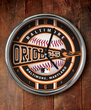 Baltimore Orioles Chrome Clock