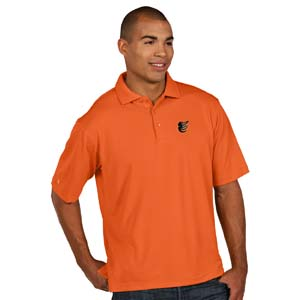 Baltimore Orioles Mens Pique Xtra Lite Polo Shirt (Color: Orange) - Large