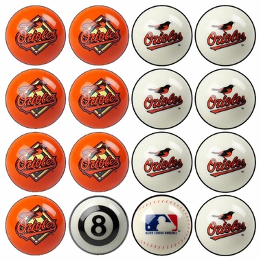 Baltimore Orioles Home and Away Complete Billiard Ball Set