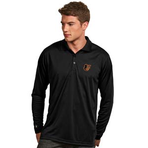 Baltimore Orioles Mens Long Sleeve Polo Shirt (Color: Black) - Small