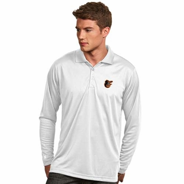 Baltimore Orioles Mens Long Sleeve Polo Shirt (Color: White)