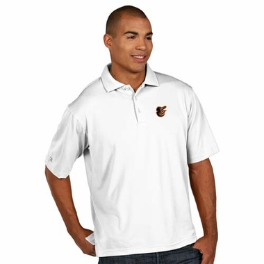 Baltimore Orioles Mens Pique Xtra Lite Polo Shirt (Color: White)