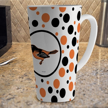 Baltimore Orioles Polkadot 16 oz. Ceramic Latte Mug