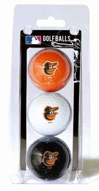 Baltimore Orioles Set of 3 Multicolor Golf Balls