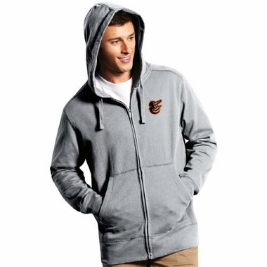 Baltimore Orioles Mens Signature Full Zip Hooded Sweatshirt (Color: Gray)