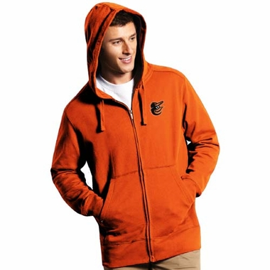 Baltimore Orioles Mens Signature Full Zip Hooded Sweatshirt (Team Color: Orange)