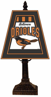 Baltimore Orioles Small Art Glass Lamp