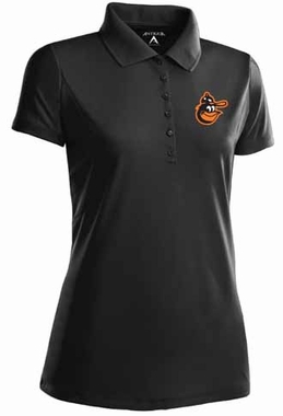 Baltimore Orioles Womens Pique Xtra Lite Polo Shirt (Cooperstown) (Team Color: Black)