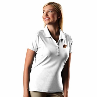Baltimore Orioles Womens Pique Xtra Lite Polo Shirt (Color: White)