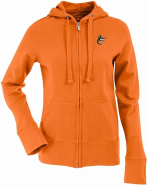 Baltimore Orioles Womens Zip Front Hoody Sweatshirt (Cooperstown) (Team Color: Orange)