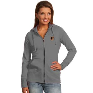 Baltimore Orioles Womens Zip Front Hoody Sweatshirt (Color: Gray) - Large