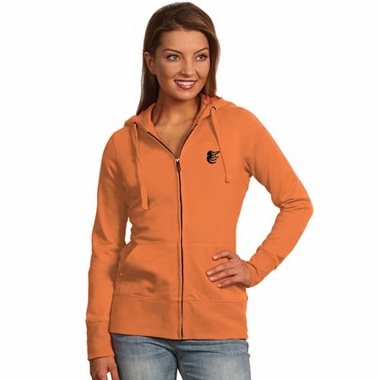 Baltimore Orioles Womens Zip Front Hoody Sweatshirt (Team Color: Orange)
