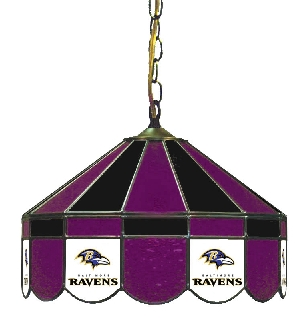 Baltimore Ravens 16 Inch Diameter Stained Glass Pub Light