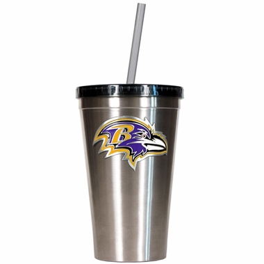 Baltimore Ravens 16oz Stainless Steel Insulated Tumbler with Straw