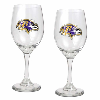 Baltimore Ravens 2 Piece Wine Glass Set